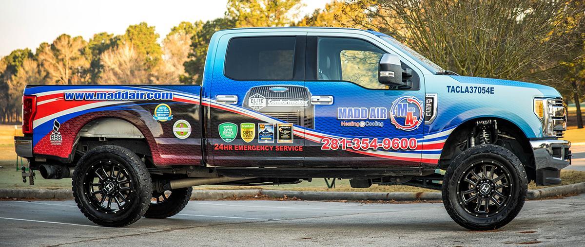 Madd Air's Blue HVAC Service Truck