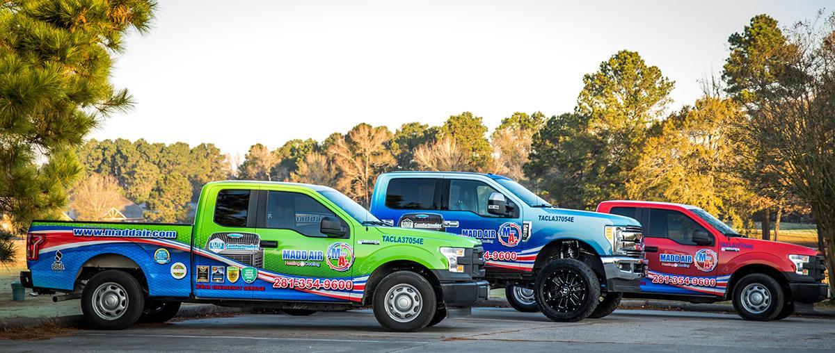 Madd Air's HVAC Service Trucks