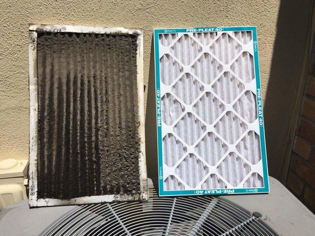 HVAC system dirty air filter