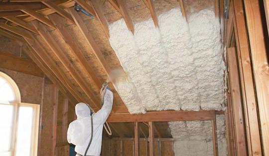 Sprayed on insulation for attics and walls